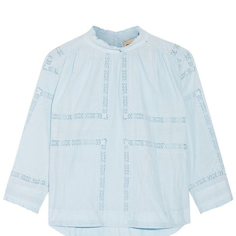 Crochet-Trimmed Cotton-Voile Blouse