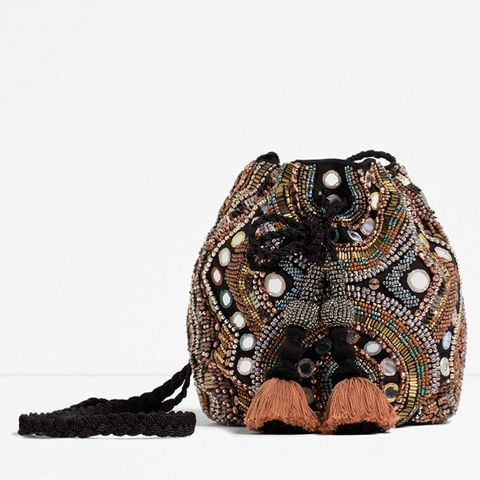 Beaded Crossbody Bucket Bag