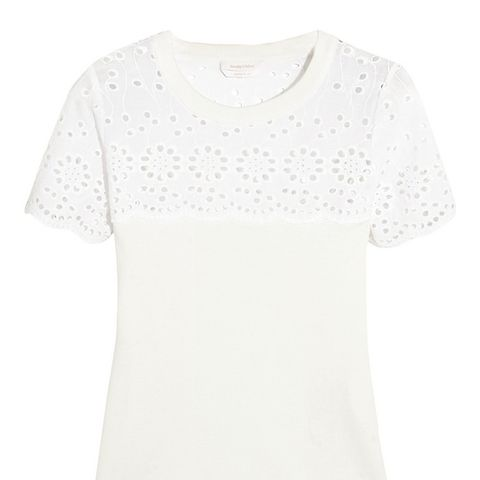 Broderie Anglaise-Paneled Cotton-Jersey T-Shirt