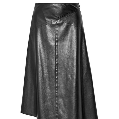 Asymmetric Faux Leather Midi Skirt