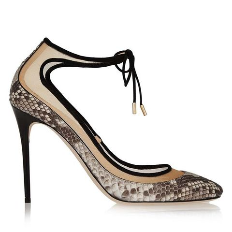 Tyler Suede-Trimmed Python and Mesh Pumps