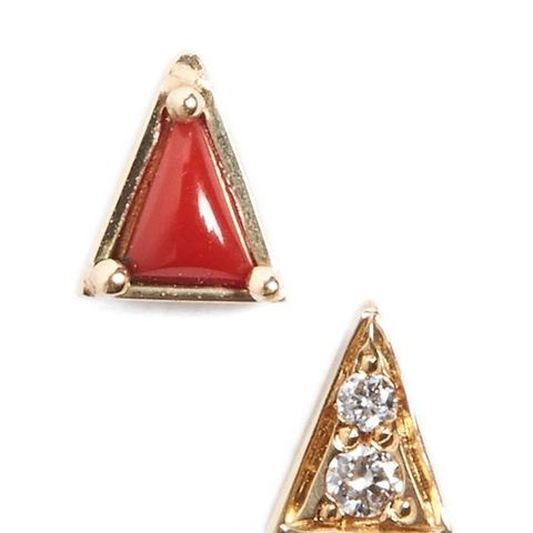 Mismatch Triangle Stud Earrings