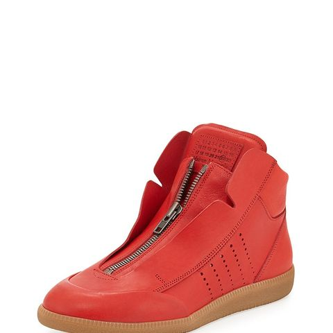 Circuit Perforated Leather High-Top Sneakers