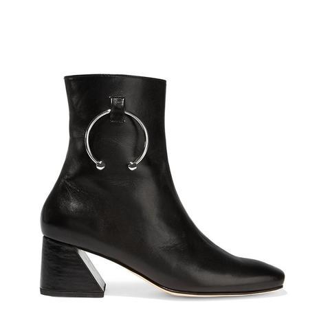 Nizip Embellished Leather Ankle Boots