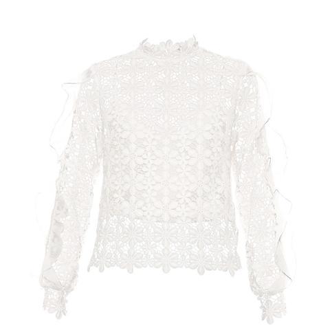 Flounced Ruffle-Sleeve Daisy-Lace Top