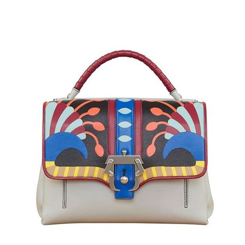 Faye Petite Abstract-Print Leather Satchel
