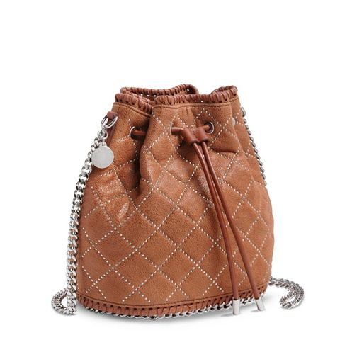 Brandy Falabella Studded Quilted Bucket Bag