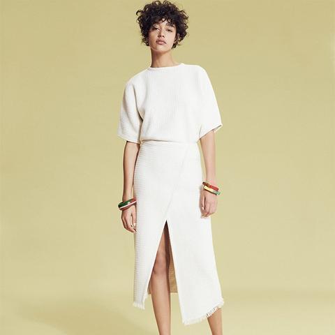 Cotton-Blend Wrap Skirt