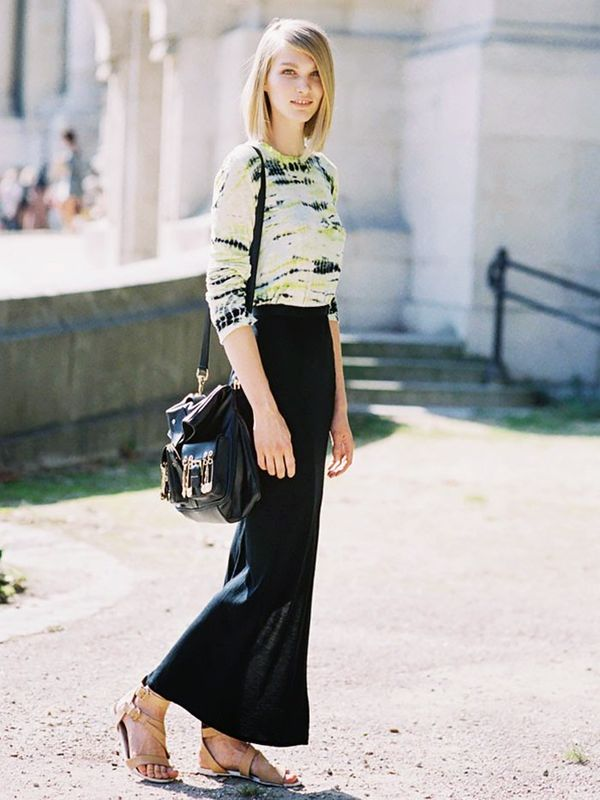 Tuck a tie-dye jersey into a long skirt for a sophisticated take on the print.
