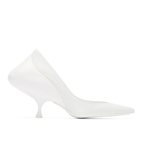 White Leather Sculptural Heels