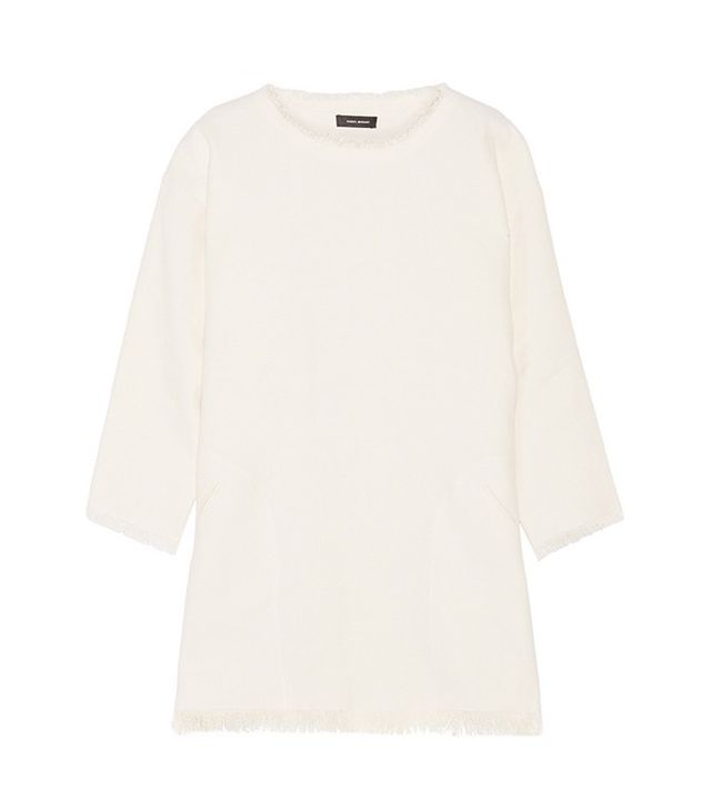 Isabel Marant Roxana Frayed Woven Linen-Blend Mini Dress