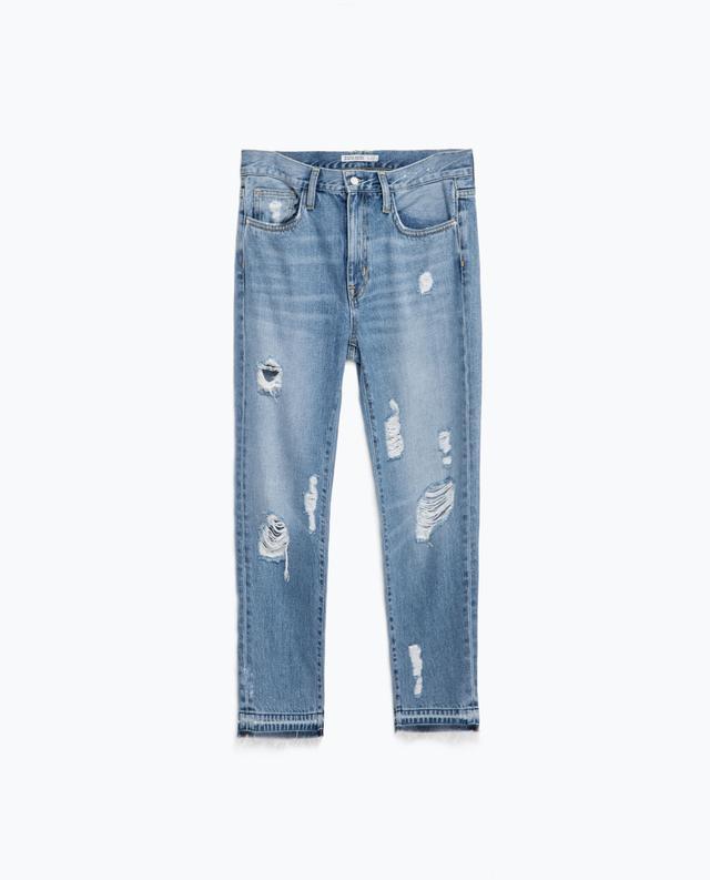 Zara Relax Fit Multi-Rip Jeans