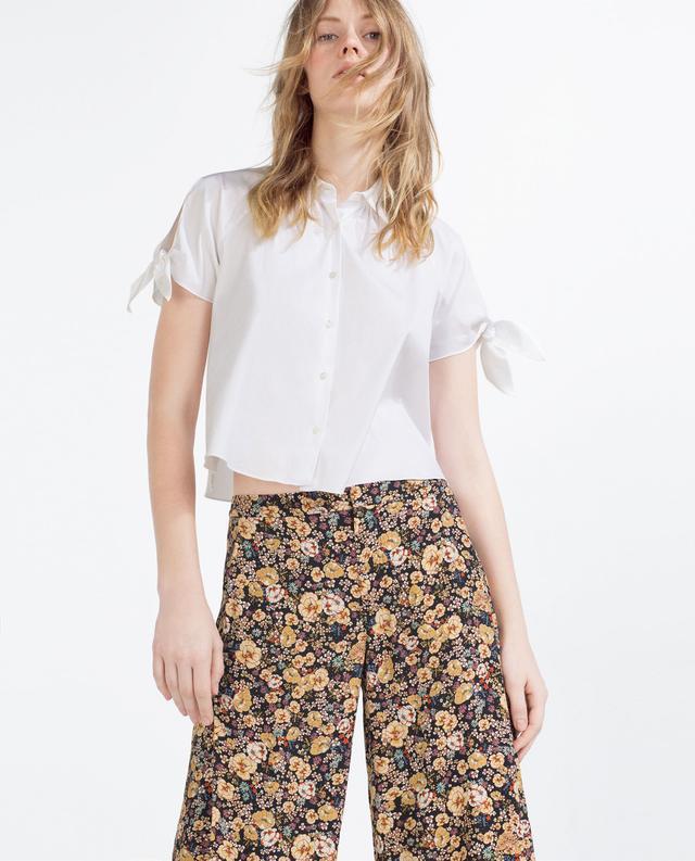Zara Cropped Bow Shirt