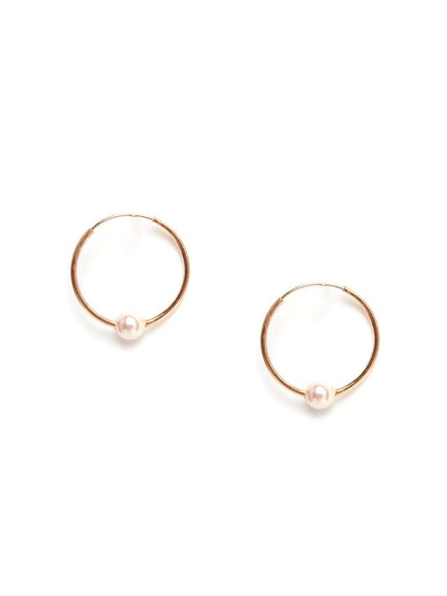 ASOS Rose Gold Plated Sterling Silver 12mm Mini Pearl Hoop Earrings