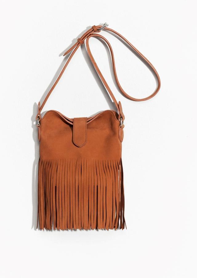 & Other Stories Fringed Leather Shoulder Bag