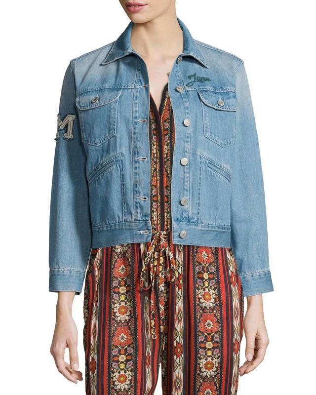 Étoile Isabel Marant Purd Rain Makers Embroidered Denim Jacket