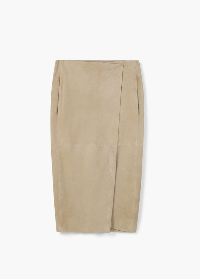 Mango Wrapped Suede Skirt