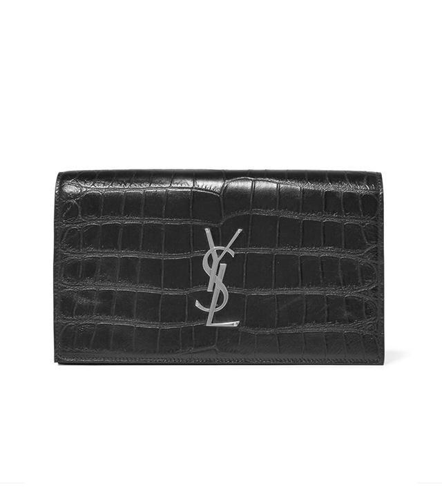 Saint Laurent Monogramme Croc-Effect Leather Clutch
