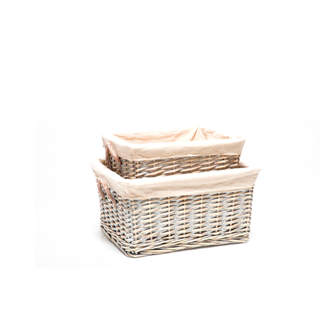 Rectangular Basket With Fabric Lining