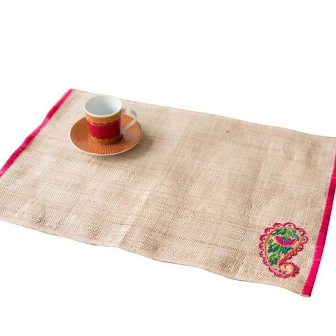 Floral Embroidered Raffia Placemat