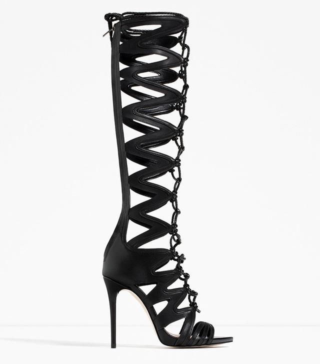 Zara Leather Roman Sandals with Heel