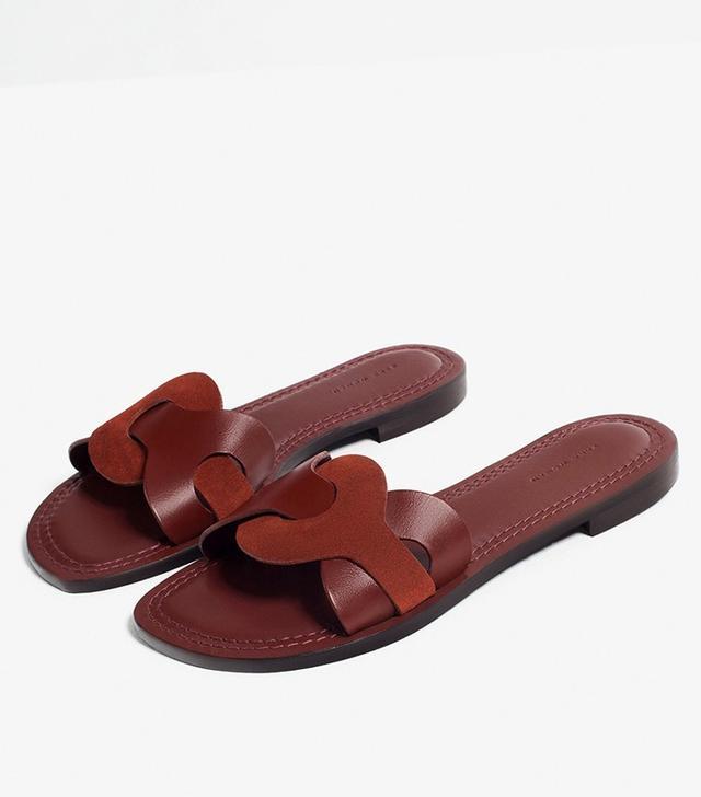 Zara Contrast Leather Slides