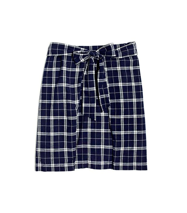 Madewell Plaid Tie-Front Skirt