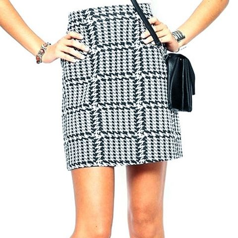 Houndstooth Printed Mini Skirt