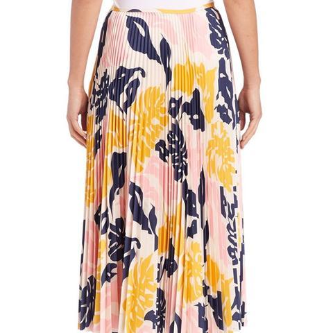 Pleated Leaf-Print Midi Skirt
