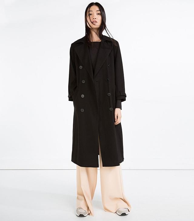 Zara Long Crossover Trench Coat