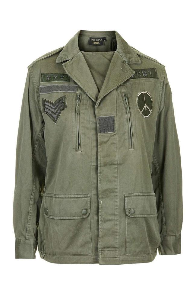 Topshop Vintage Motif Army Jacket