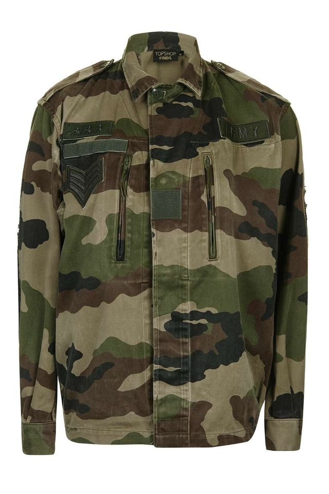 Topshop Camouflage Sequin Patch Jacket