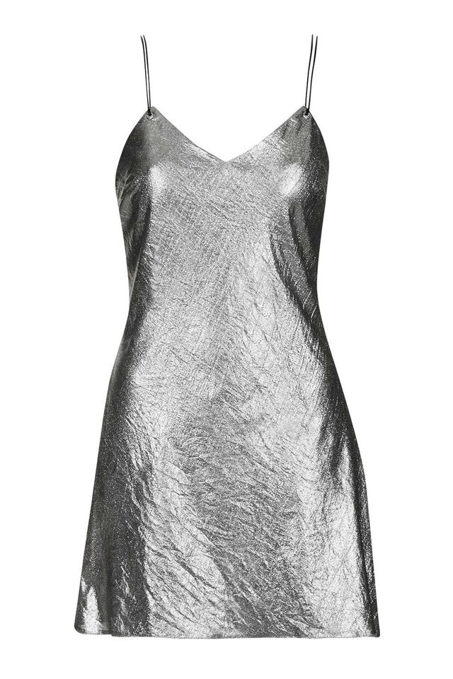 Topshop Metallic Strappy Slip Dress