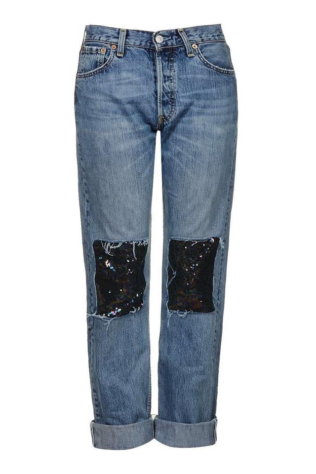 Topshop Sequin Patch Branded Jeans Black