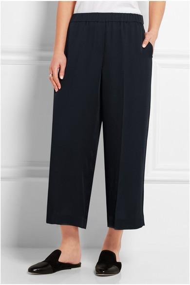 Theory Cropped Silk-Satin Wide-Leg Pants