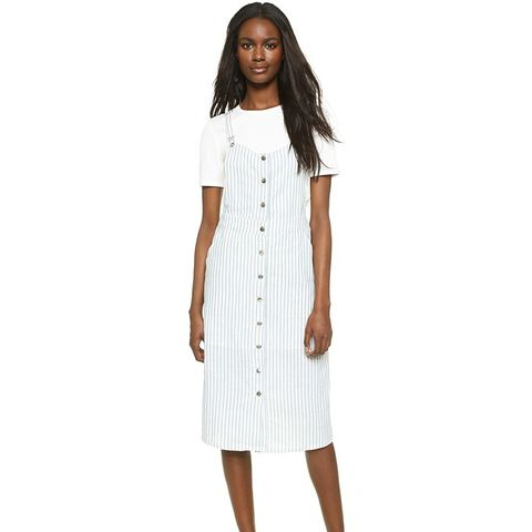 Front Button Down Overall Dress