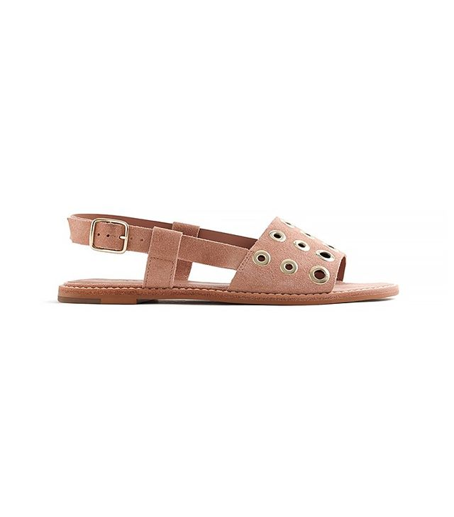 J.Crew Suede Slingback Sandals With Grommets