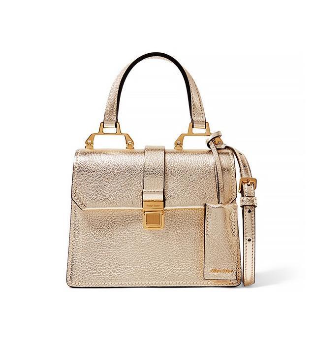 Miu Miu Madras Mini Metallic Textured-Leather Shoulder Bag