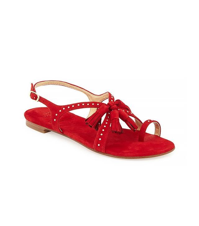 Stuart Weitzman Flapagain Suede Tassel Flat Sandals