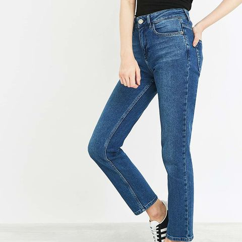 New Girlfriend Mid-Blue Straight Leg Jeans