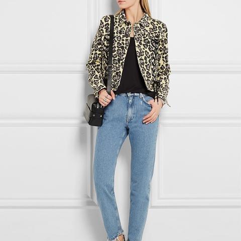 Leopard-Print Denim Jacket