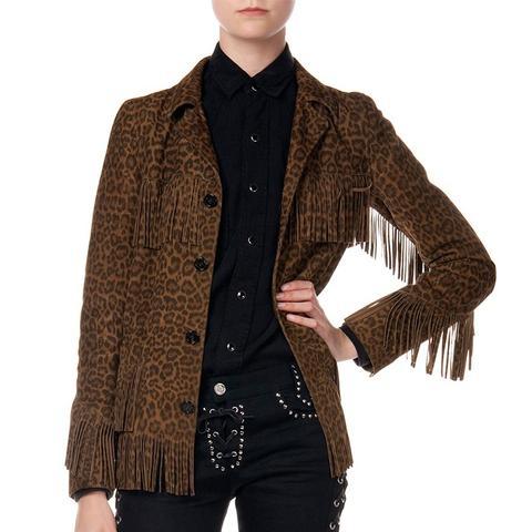 Suede Fringed Leopard-Print Jacket
