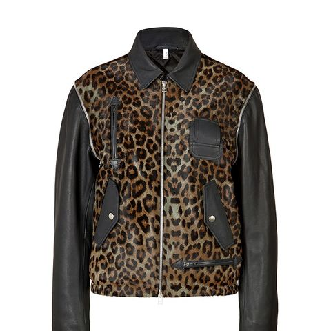 Haircalf/Leather Leopard Print Bomber