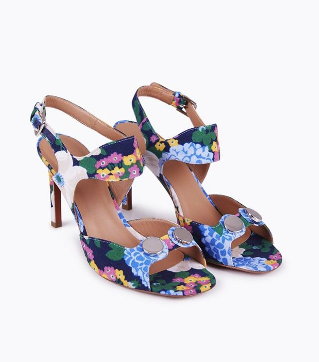Carven Strappy Leather Printed Sandals