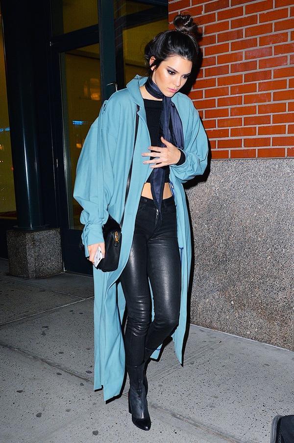 Pastel Coat + Crop Top + Leather Pants