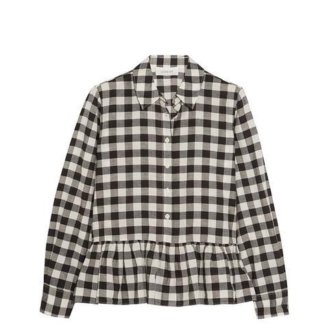 Ruffle Oxford Plaid Shirt