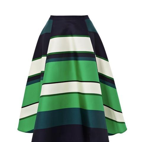 Green Striped A-Line Skirt