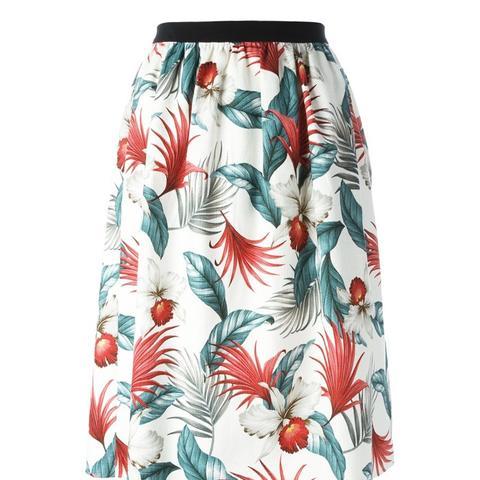 Hawaiian Print Floral Skirt