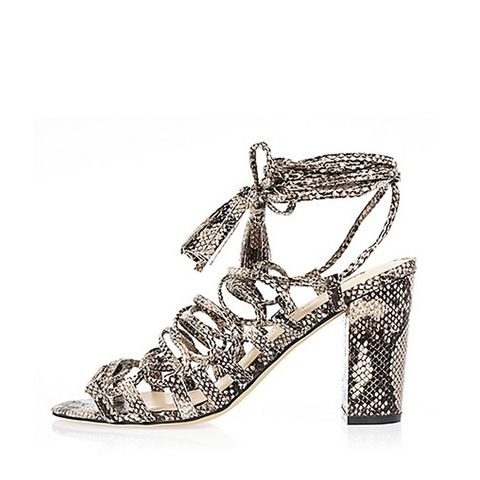 Grey Snake Print Lace-Up Sandals