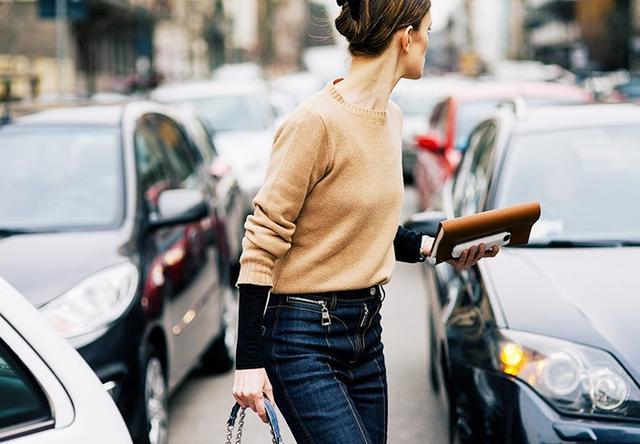 #6: Contrast-Stitch Jeans + Cashmere Sweater